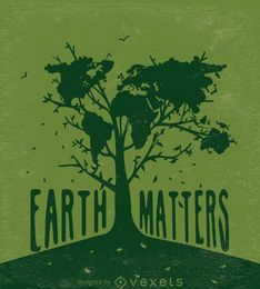 Terra importa-árvore com mapa-múndi em verde