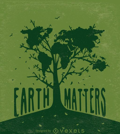 Earth matters-Tree with world map in green