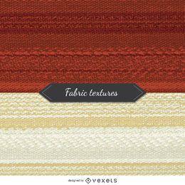 2 texturas de tela en tonos rojo y beige.
