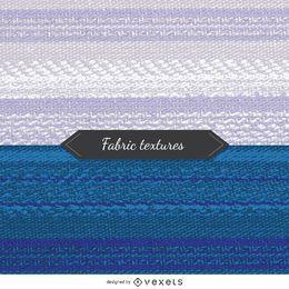 2 texturas de tela en tonos azules y blancos.