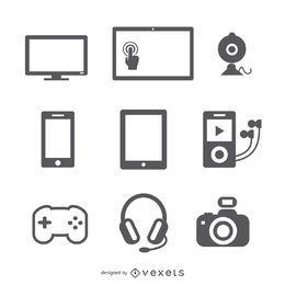 Conjunto de ícones de dispositivos plana