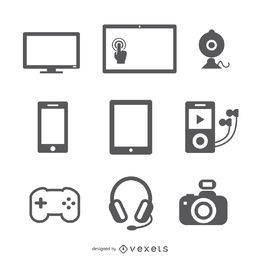 Flat devices icon set