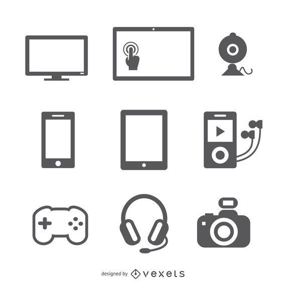 Conjunto de iconos de dispositivos planos
