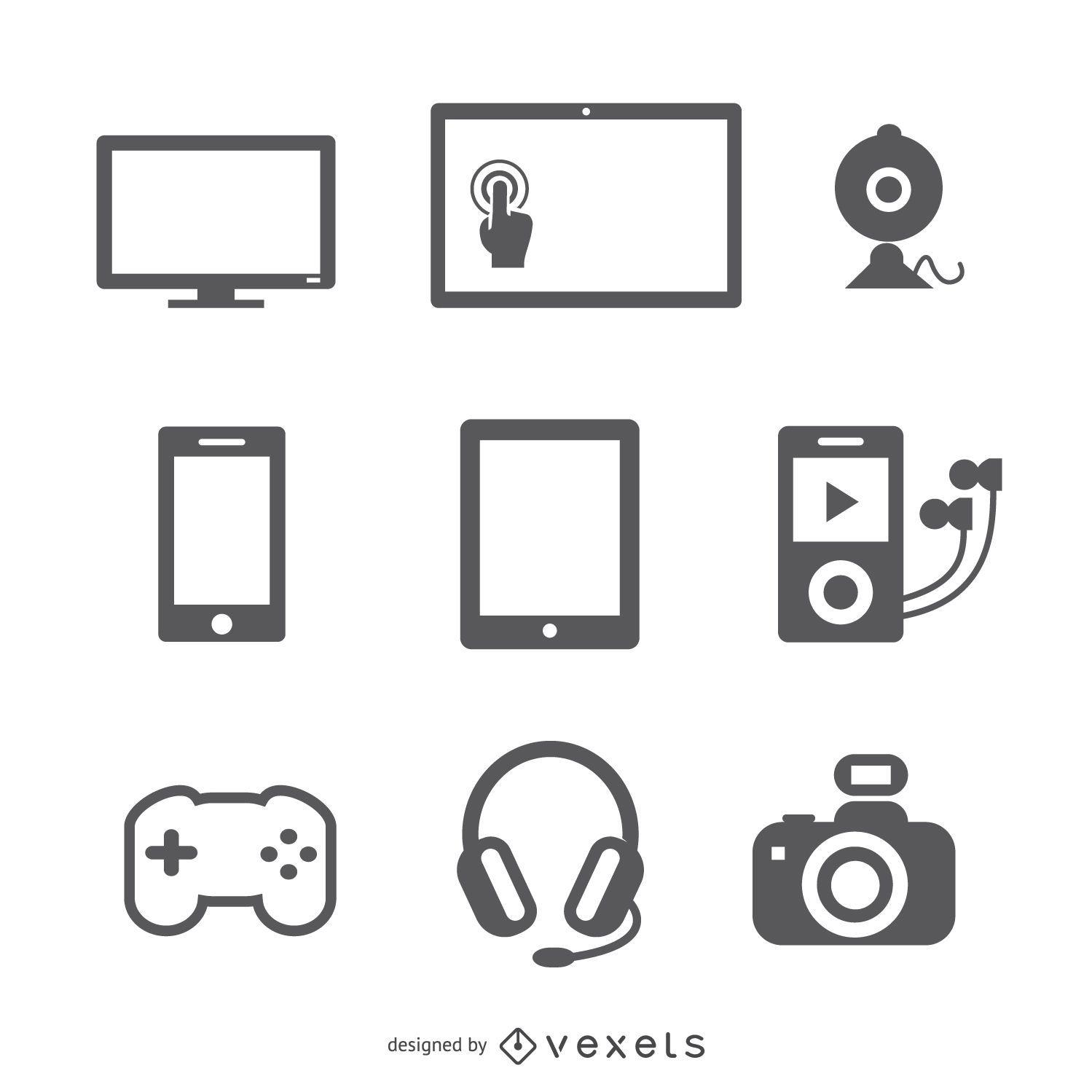 Conjunto de ícones de dispositivos planos
