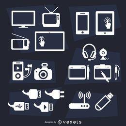 Conjunto de iconos planos de dispositivos