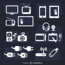 Devices flat icon set