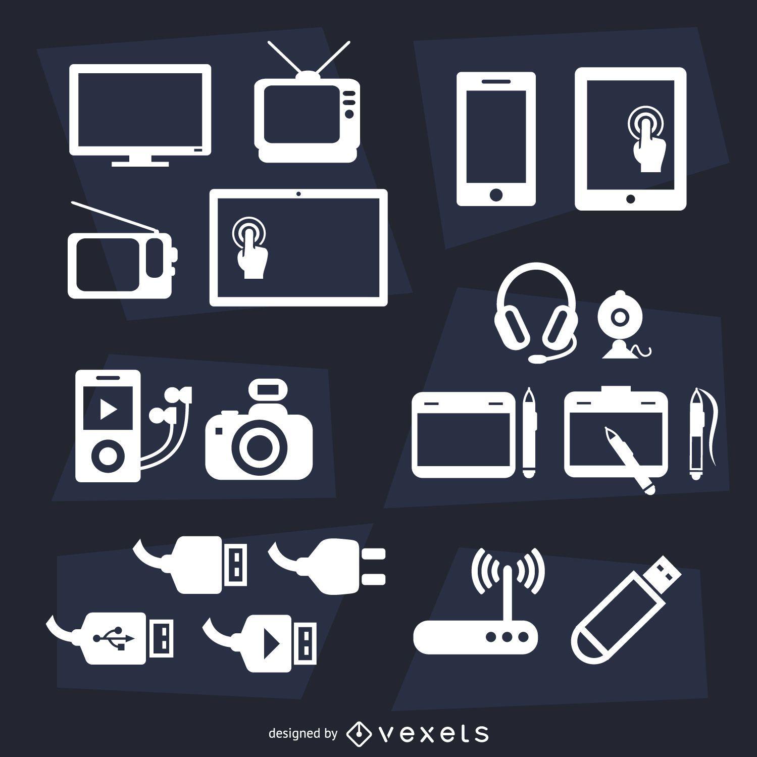 Devices flat icon set