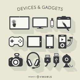 Iconos de la larga sombra de dispositivos electrónicos
