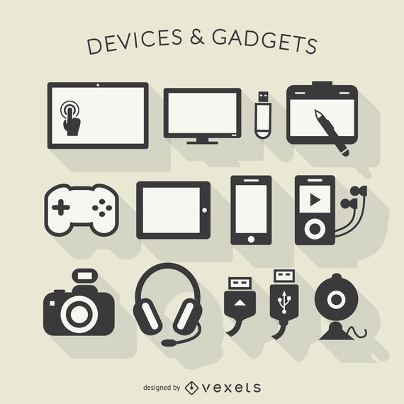 Electronic devices long shadow icons