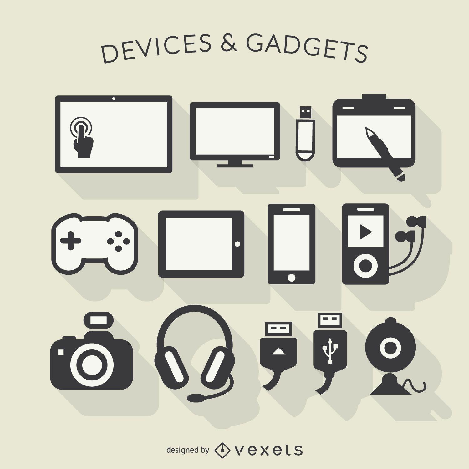 Ícones de sombra longa para dispositivos eletrônicos