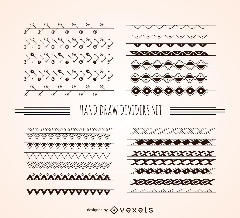 Conjunto de separadores dibujados a mano