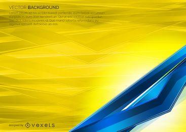 Azul y telón de fondo geométrico en amarillo