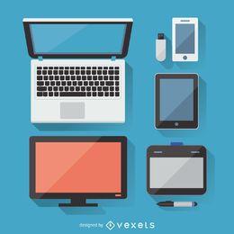 Conjunto de aparelhos eletrônicos planos com sombras