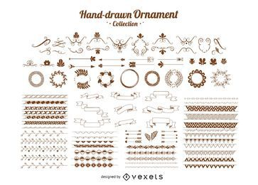 Coleção de enfeites desenhados à mão