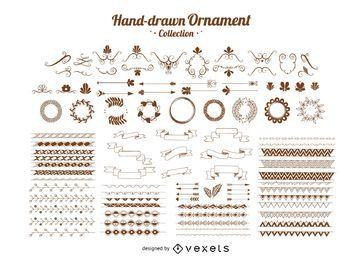 Mão desenhada coleção ornamento