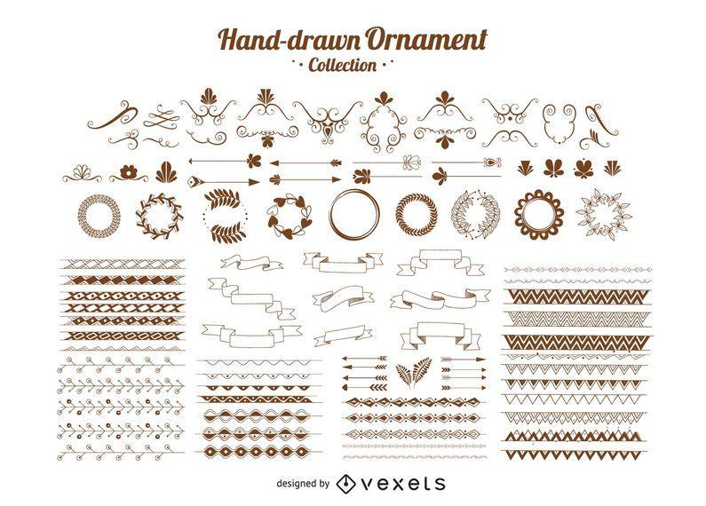 Colección de adornos dibujados a mano
