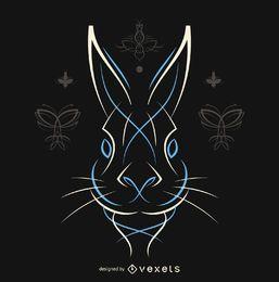 Vector conejo a rayas en blanco y azul.