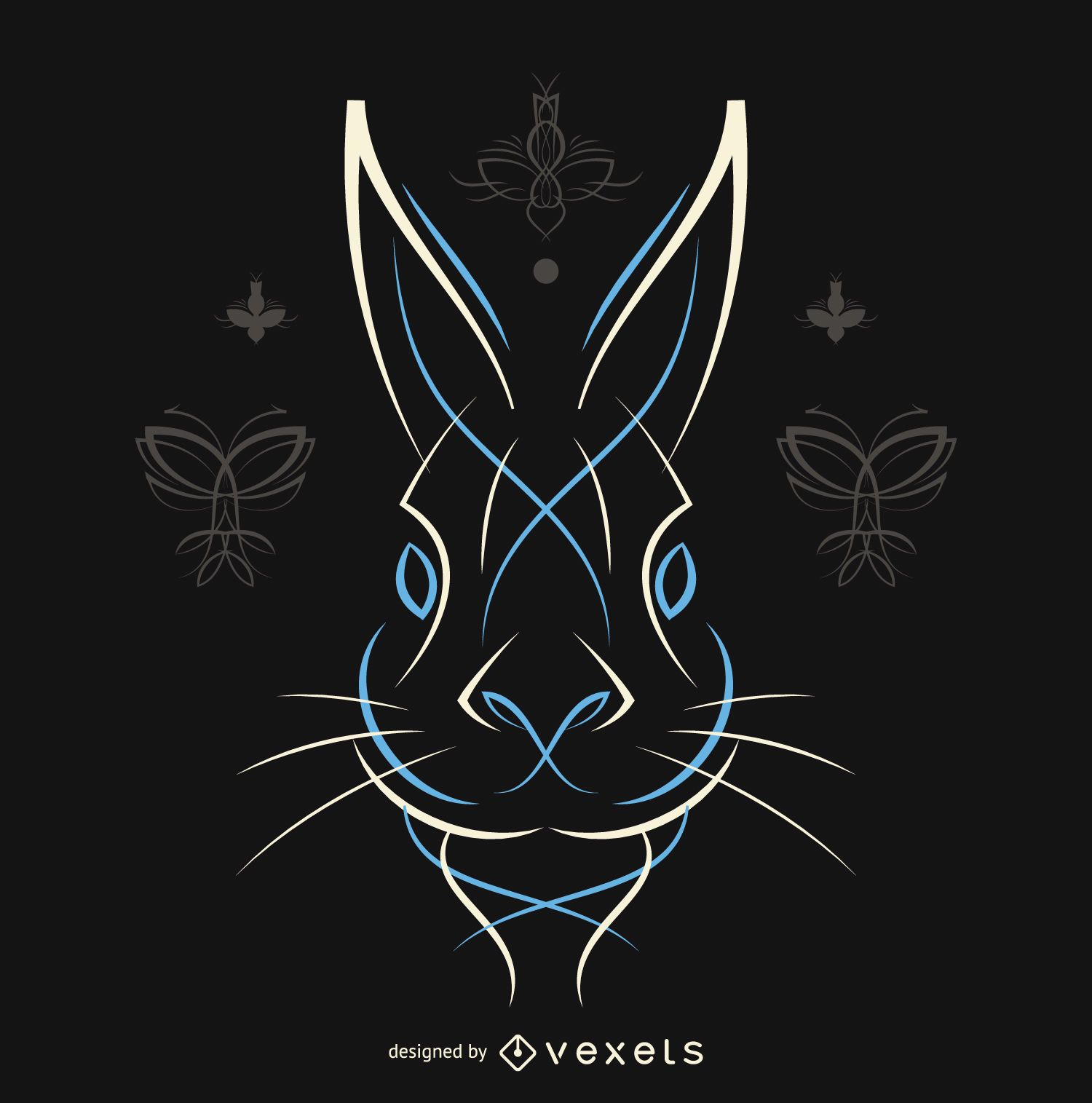 Pinstripe rabbit vector in white and blue
