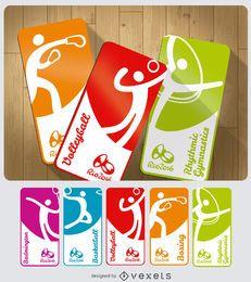 Juegos Olímpicos 2016 tarjetas de deporte.