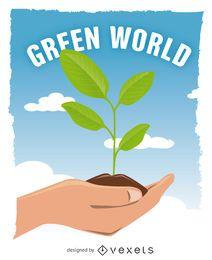 Mãos, segurando, verde, planta crescente