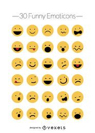 Funny emoticons vector set