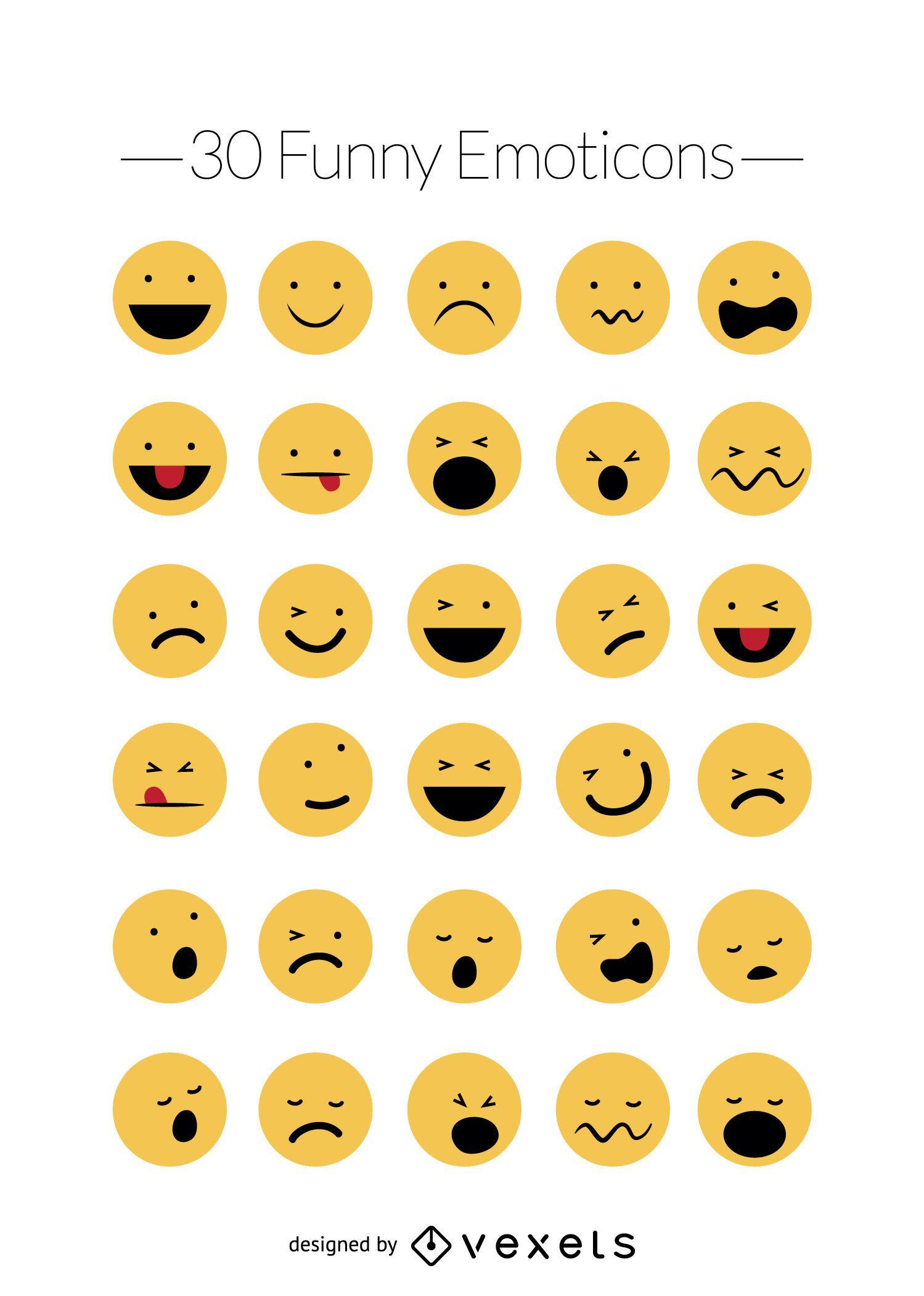 Funny emoticons vector set