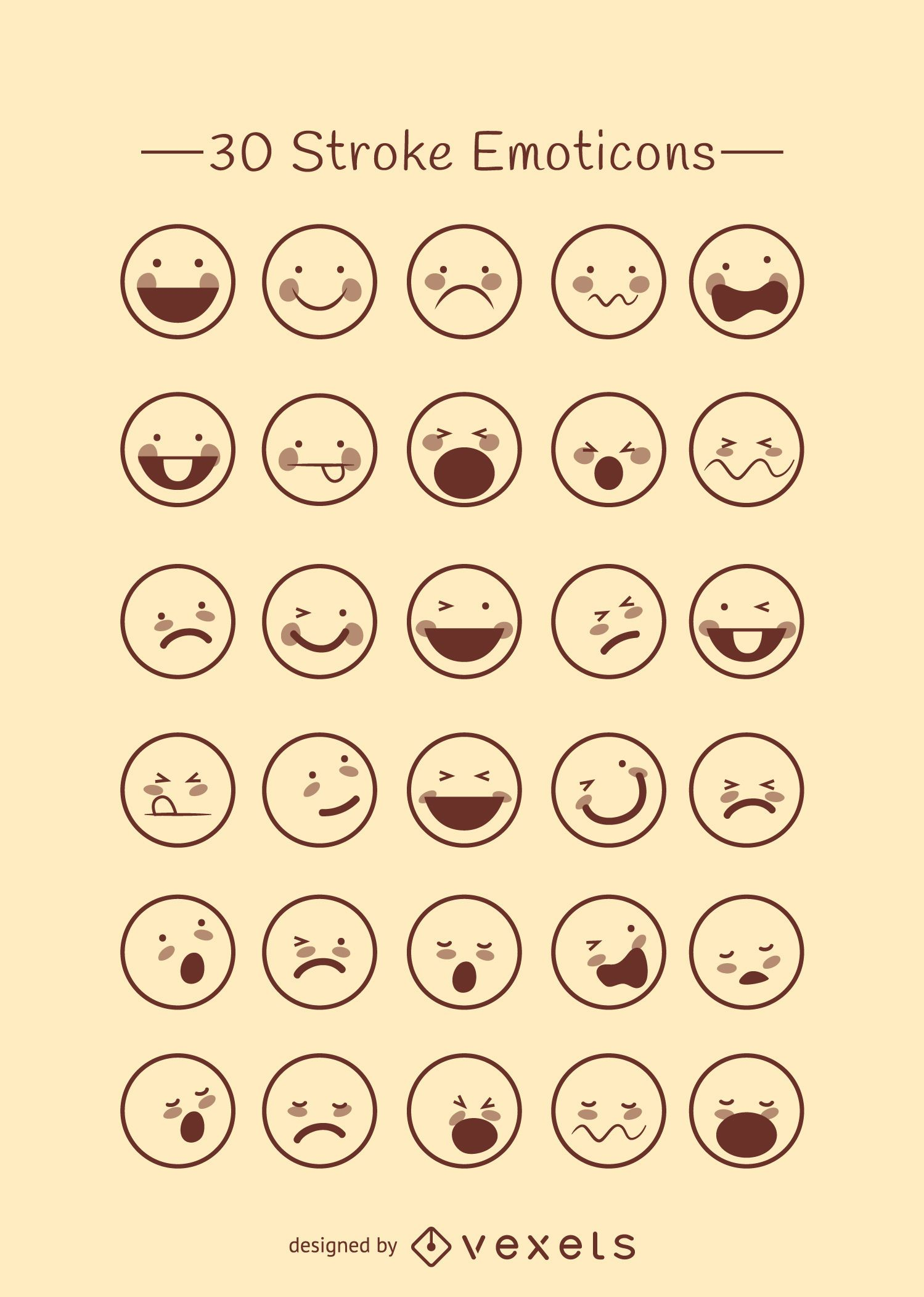 Emoticons outline collection