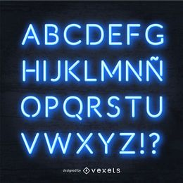 Alfabeto de néon azul realista