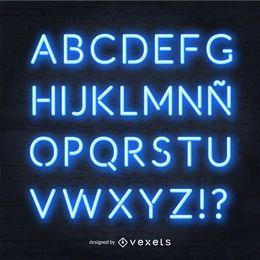 Realistic blue neon alphabet