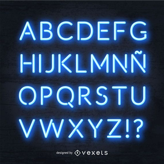 Alfabeto de neón azul realista
