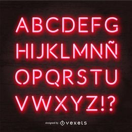 Red neon alphabet vector