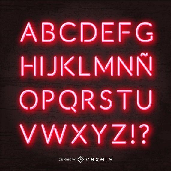 Vetor de alfabeto néon vermelho