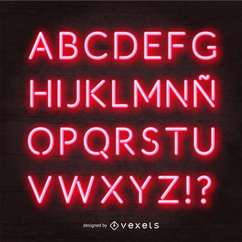 Vetor alfabeto neon vermelho