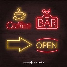 Neon pub signs set