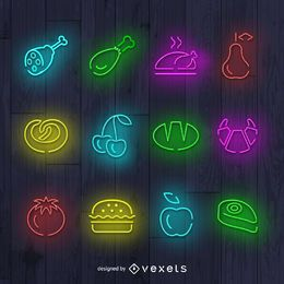 Food neon signs set
