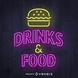 Bebidas y letreros de neón de la comida.