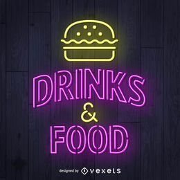 Letrero de neón de bebidas y alimentos.