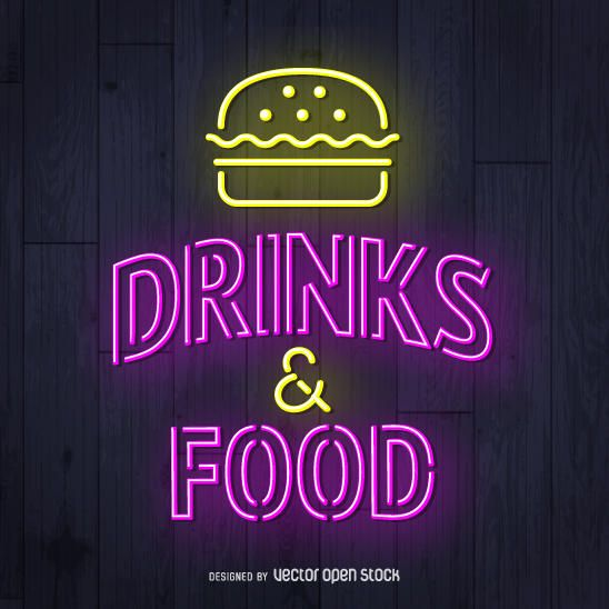 Bebidas e sinal de néon de comida