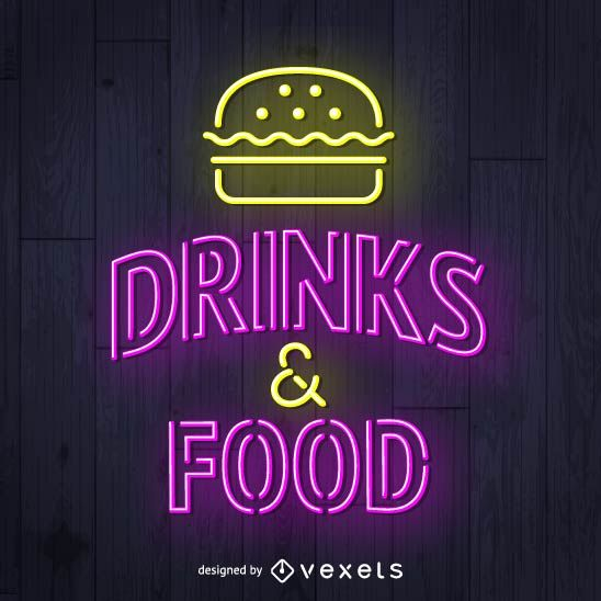 sign neon drinks food vexels london silhouette vector skyline ai