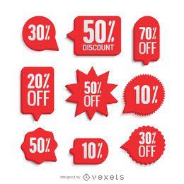 Conjunto de rótulos de venda vermelho