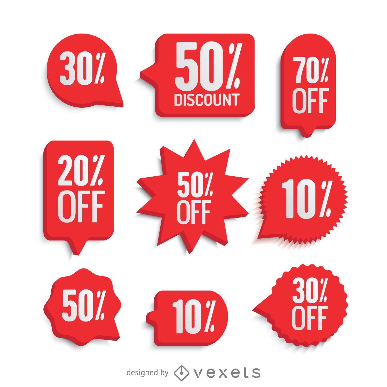 Red sale labels set