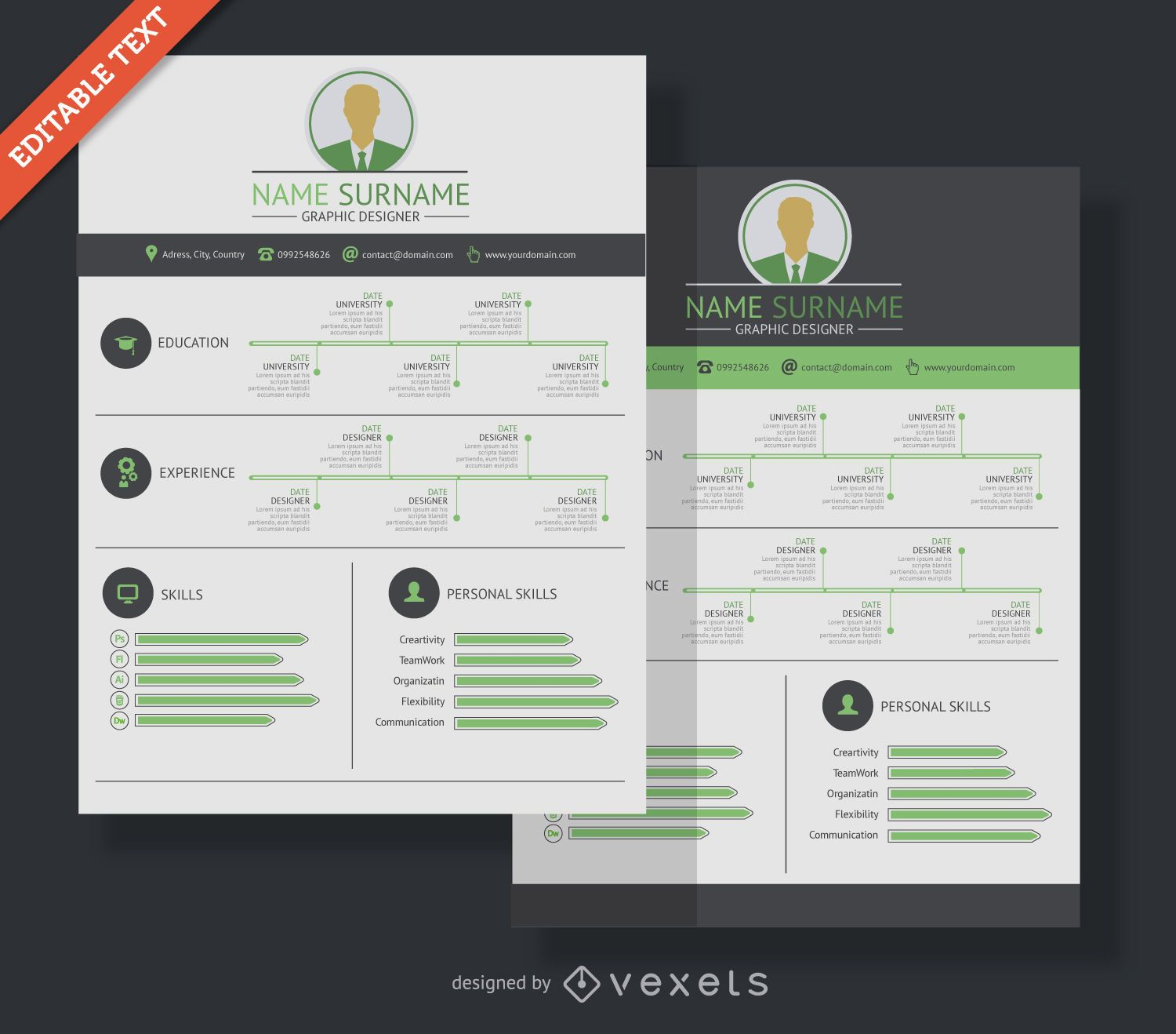 resume Flat Design Resume graphic designer resume cv vector download flat design mockup