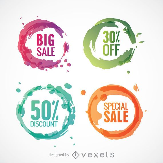 Colorful circle discount vectors set