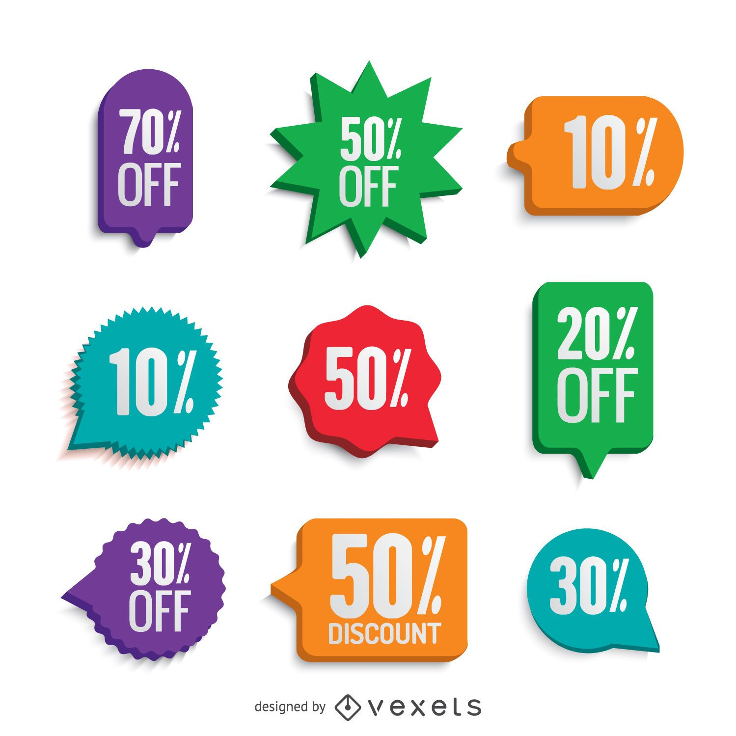 Colorful offer stickers set
