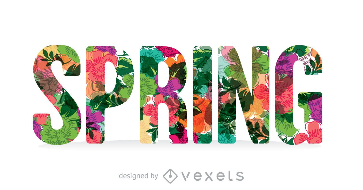 Colorful spring sign with flowers - Vector download