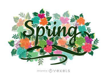 Floral, caligráfico, primavera, sinal