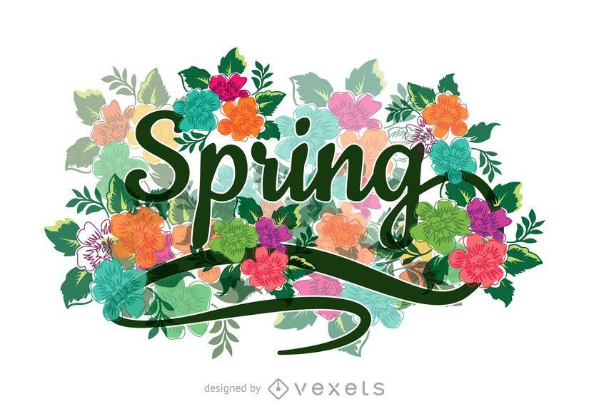 Signo de primavera caligráfico floral