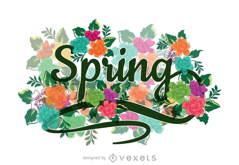 Signo de primavera caligráfica floral