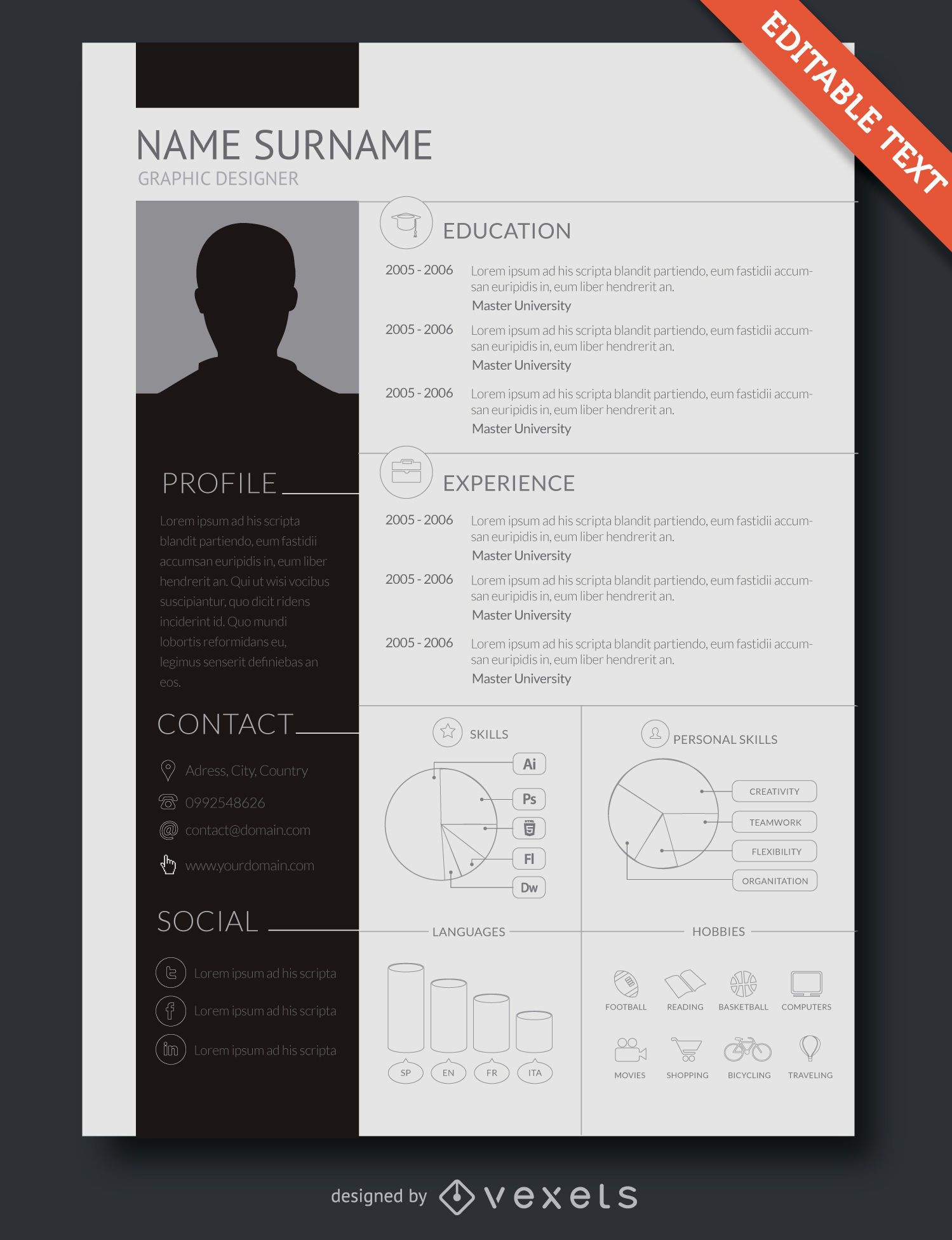 Flat Design Resume Template - Vector Download