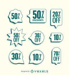 Etiquetas de venda com bordas verdes